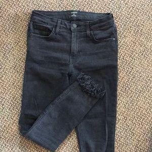 Just black skinny black frayed jeans